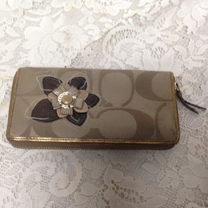 Coach, CC Monogram, Brown with Gold Leather Trim,
